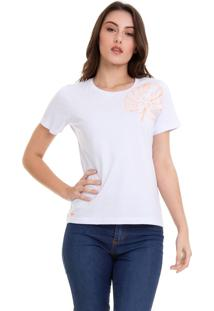 Camiseta Com Bordado Flores Branca