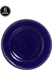 Conjunto 6 Pratos Sobremesa Bolinha Azul Scalla