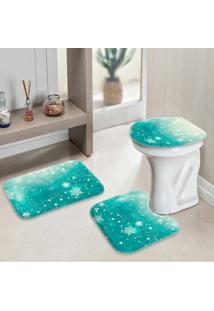 Jogo Tapetes Para Banheiro Snowflakes Único