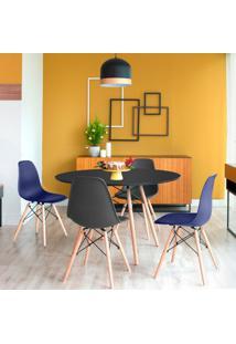 Conjunto De Mesa De Jantar Com 4 Cadeiras Eames Eiffel Premium Preto E Azul Marinho