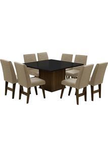 Conjunto De Mesa Para Sala De Jantar Com 8 Cadeiras Creta-Dobue - Castanho / Preto / Bege Bord
