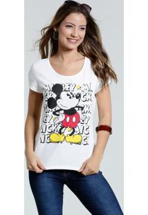 Blusa Feminina Mickey Manga Curta Marisa