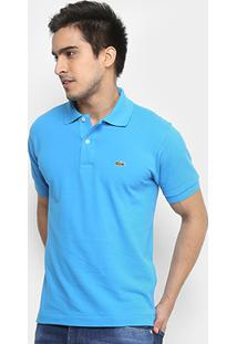 69aad2c89c51d Camisa Polo Lacoste Piquet Original Fit Masculina - Masculino-Azul  Piscina+Branco
