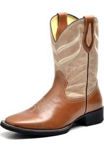 Bota Fidalgo Boots Texana Pull Up Fóssil Cor Caramelo Marmore Nelore Preto Vermelho