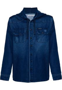 Camisa Jeans Overshirt Mol Capuz - Marinho - 4
