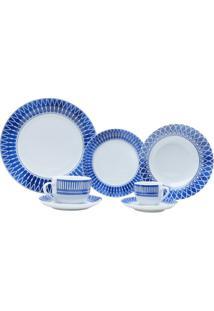 Aparelho De Jantar De Porcelana Super Whitetress Mail Box 42 Peças - Unissex-Azul+Branco