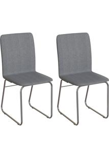 Conjunto Com 2 Cadeiras Hawke Cinza E Cromado