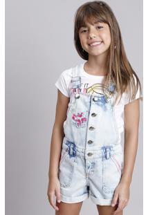 Jardineira Jeans Infantil Barbie Com Bordados Azul Claro
