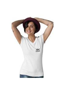 Camiseta Feminina Gola V Ezok King Branco
