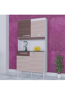 Cozinha Compacta 4 Portas 1 Gaveta Kit Carine 467 Amêndoa/Capuccino - Poquema