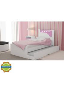 Cama Bibox Bolinha Branca E Pink Gelius