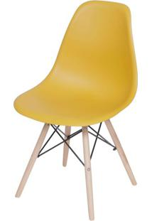 Cadeira Eames Polipropileno Acafrao Base Madeira - 49331 - Sun House