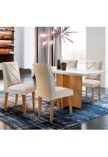 Conjunto De Mesa Com 4 Cadeiras Berlim-Rufato - Veludo Creme / Off White / Imbuia
