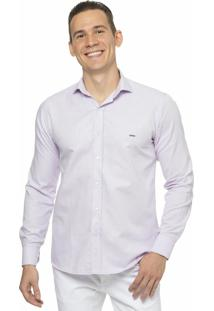 Camisa Slim Fit Em Oxford Lilas