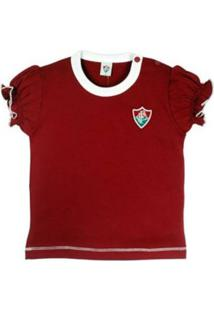Baby Look Reve D'Or Sport Cores Clube Fluminense Grená E Branca