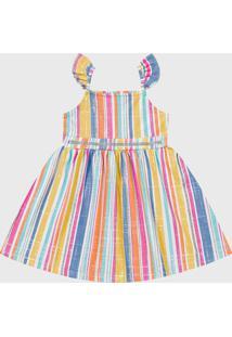Vestido Fakini Infantil Listrado Amarelo/Azul