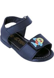 Sandália Infantil Preta Com Velcro