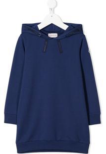 Moncler Kids Vestido Com Logo Bordado E Capuz - Azul