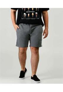 Bermuda Chopp Moletinho Plus Size Masculina - Masculino-Cinza
