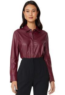 Amaro Feminino Camisa Leather, Vinho