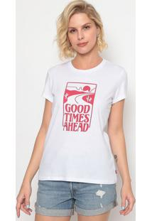 "Camiseta ""Good Time Ahead""- Branca & Vermelhalevis"
