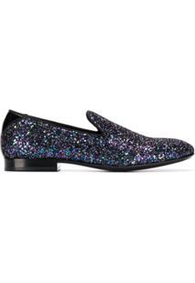 Jimmy Choo Slipper Thame De Glitter - Azul