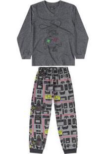 Pijama E Calça Meia Malha Infantil Quimby Masculino - Masculino-Cinza