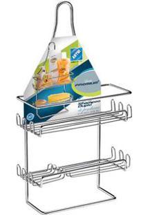 Porta Shampoo Duplo De Parede Com Ventosas Cromado Premium 1294 Arthi
