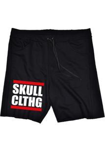 Bermuda Tecido Skull Clothing Skull Clthg Preto - Preto - Masculino - Dafiti