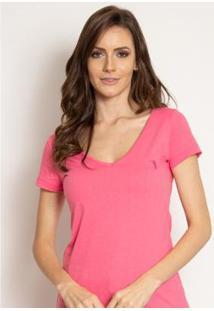 Camiseta Aleatory Feminina Gola V Básica Mescla - Feminino
