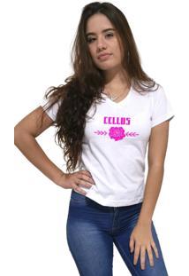 Camiseta Feminina Gola V Cellos Sigle Rose Premium Branco - Kanui