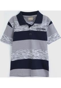 Camisa Milon Infantil Listras Cinza/Azul-Marinho