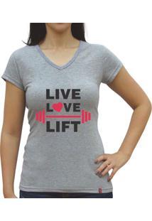 Camiseta Baby Look Casual Sport Live Love Lift Cinza