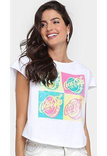 Camiseta Coca-Cola Silk Quadro Feminina - Feminino