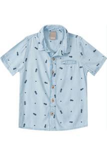 Camisa Azul Slim Abacaxi Jeans Menino