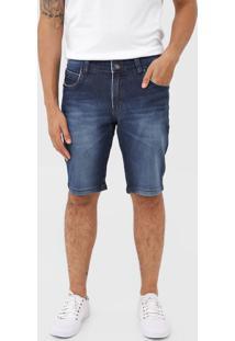 Bermuda Jeans Zune Reta Estonada Azul-Marinho