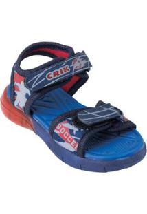 Sandália Infantil Azul Com Velcro E Luzinha