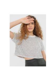 Camiseta Colcci Paetê Cinza/Prata