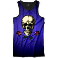 Camiseta Insane 10 Regata Caveira Com Duas Rosas Sublimada Preto Azul 022ebc728d9