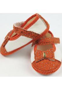 Sapato Bebê Feminino Branco E Laranja-M - Feminino-Branco+Laranja