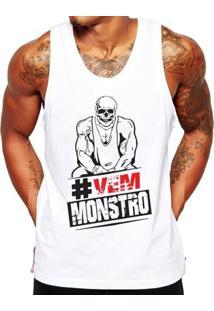 Camiseta Regata Criativa Urbana Fitness Academia Caveira - Masculino-Branco