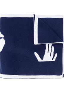 Off-White Cachecol De Tricô Com Logo - Azul