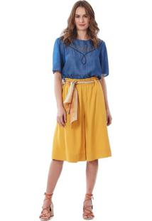 T-Shirt Maria Valentina Decote Redondo Bordado Industrial Azul