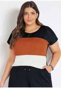 Blusa Preta Caramelo E Off White Plus Size