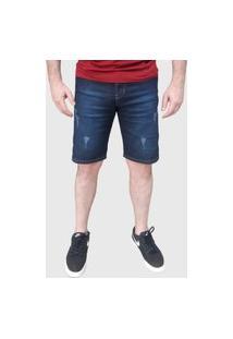 Bermuda Jeans Elastano Aizone Puídos Azul