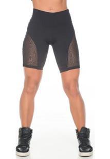Bermuda Fitness Dily Com Detalhe Em Tela Feminina - Feminino-Preto