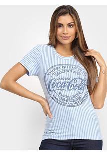 Camiseta Coca-Cola Listrada Logo Feminina - Feminino