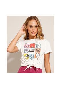 Camiseta Cropped Com Nó Bt21 Manga Curta Decore Redondo Off White