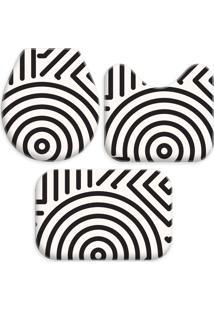 Jogo Tapetes Love Decor Para Banheiro Abstrato Modern Off White/Preto