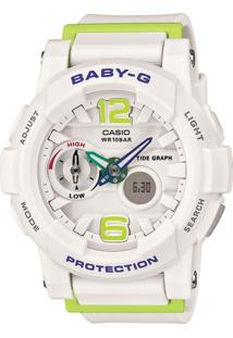 Relógio Feminino Casio G-Shock Baby-G Analógico Digital Bga-180-7B2Dr Branco/Verde